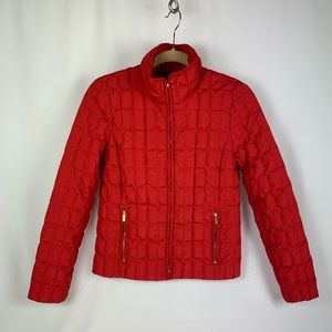 Red J.Crew Puffer - Goose Down with Gold Accents